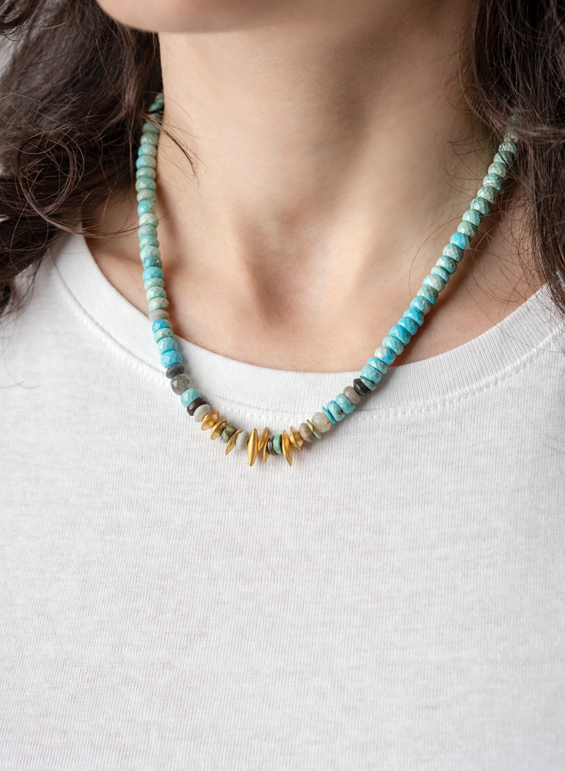 Turquoise Necklace with Gold Puffed Elements