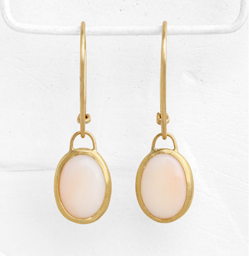 Coral Oval Pendant Earrings
