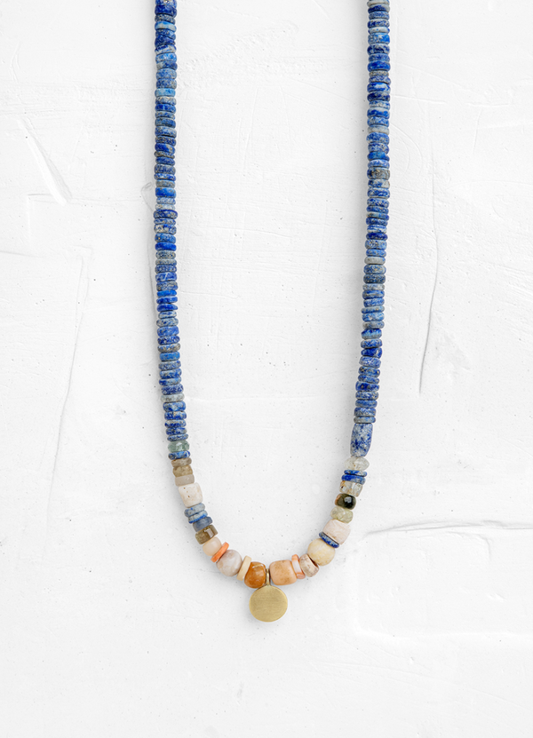 Lapis Necklace with a Gold Disc Pendant