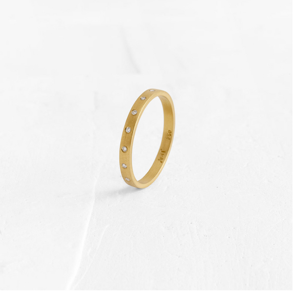 Flat Thin Band With Diamonds