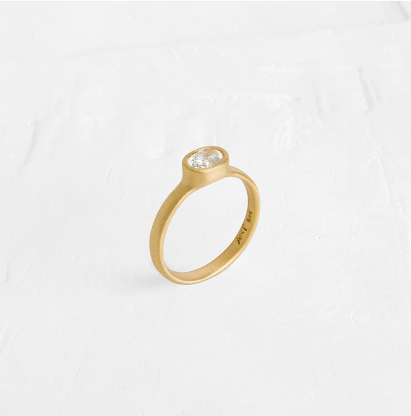 Oval Ring with Diamond