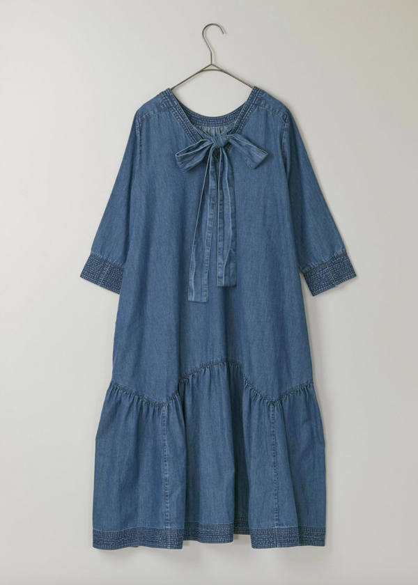 Chambray Back Ribbon Dress