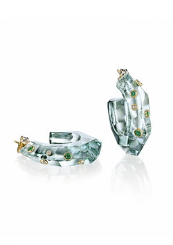 Green Amethyst Facet Hoops