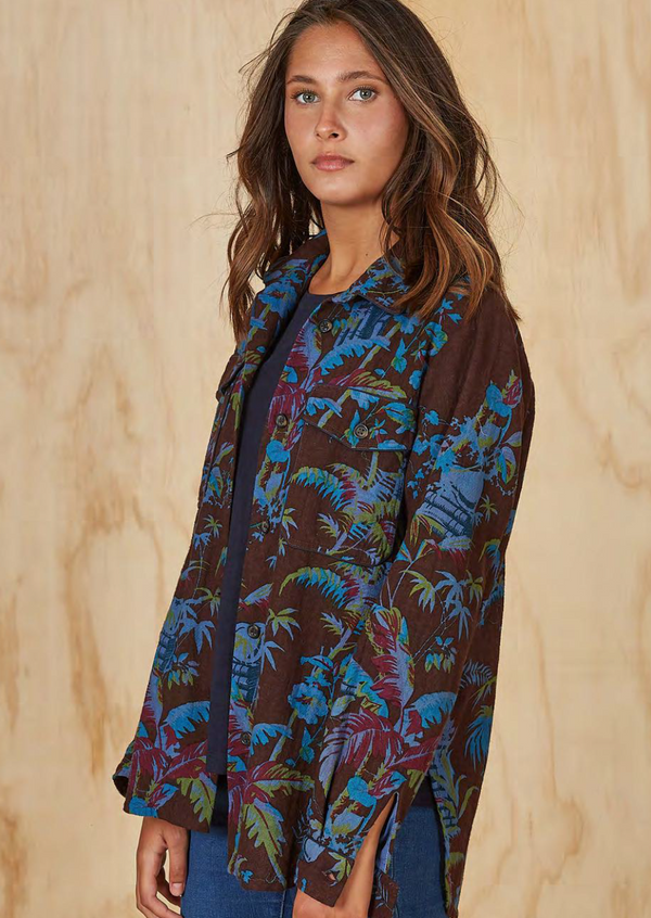 cotton jacket, botanical print, bold pattern, french graphic design, inouitoosh, sold in santa fe new mexico