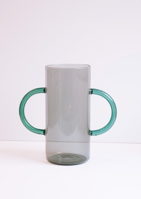 Handle Vase, Smoke with Teal Handles