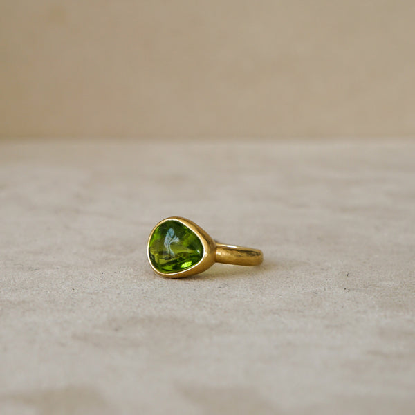 Natural Peridot Nugget Ring