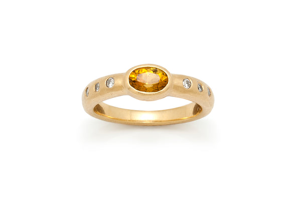 Tony Malmed, contemporary jewelry, 18kt gold, recycled metals, yellow tourmaline, diamonds, fine jewelry, ring, conflict-free, handmade, santa fe style