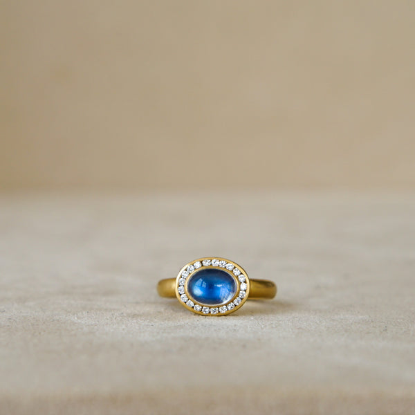 Moonstone and Diamond Ring in 18k Gold, alternative bridal, anniversary gift.