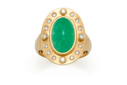 Emerald and Diamond Ring in 18 kt Gold