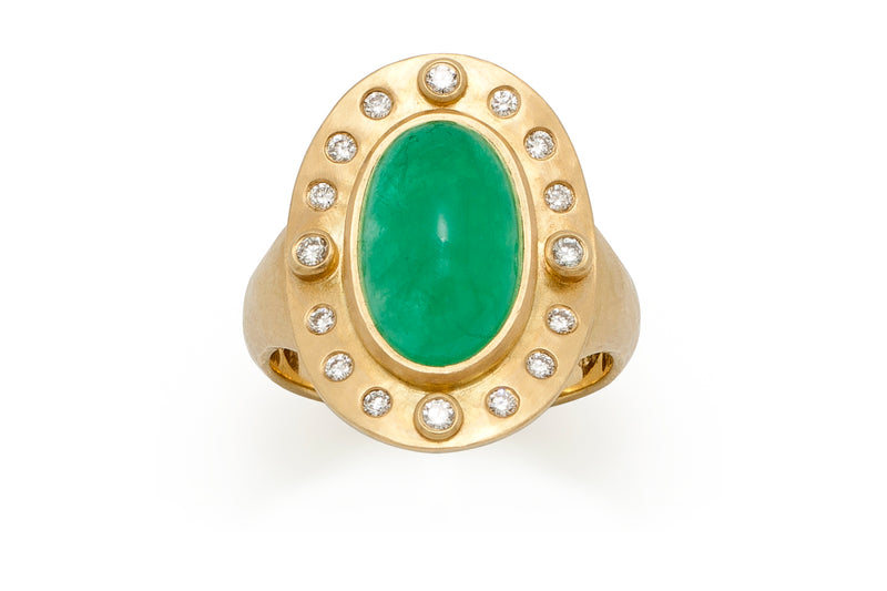 Tony Malmed, contemporary jewelry, 18kt gold, recycled metals, natural emerald, diamonds, fine jewelry, saddle ring, conflict-free, handmade, hammered finish, santa fe style