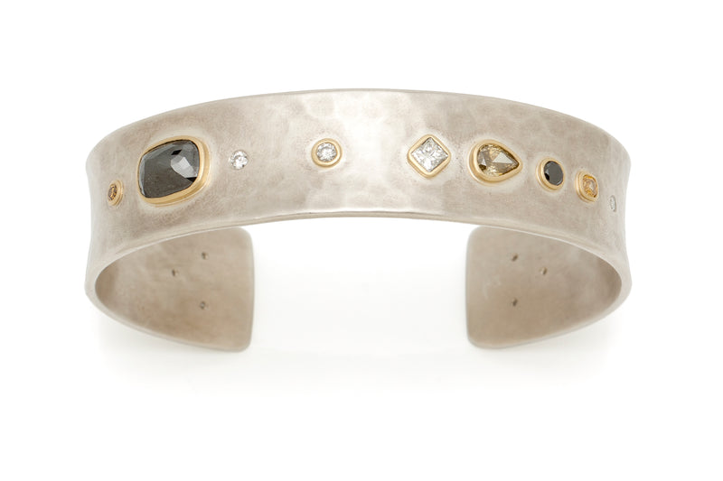 Tony Malmed, contemporary jewelry, sterling silver, 18kt gold, recycled metals, black, white, champagne, yellow, brown diamonds, fine jewelry, cuff bracelet, conflict-free, handmade, hammered finish, santa fe style