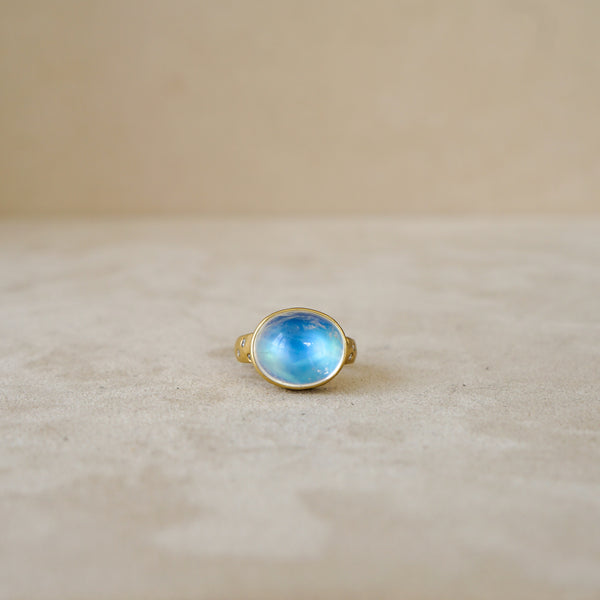 East West Cabochon Moonstone Ring