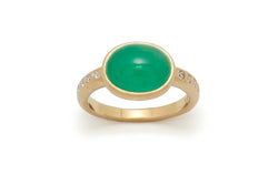 Tony Malmed, contemporary jewelry, 18kt gold, recycled metals, natural emerald, cabochon, diamonds, fine jewelry, ring, conflict-free, handmade, hammered finish, santa fe style