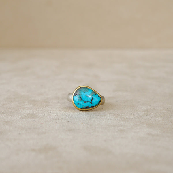 Bisbee Turquoise Ring 18kt & Sterling