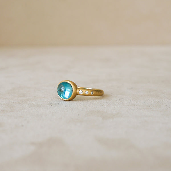 4.82 ct Cambodian Blue Zircon .09 ct Dia 18 kt Gold
