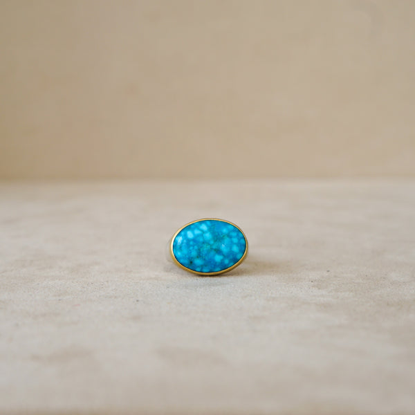 Natural Kingman Turquoise 18 kt Gold/Sterling Silver
