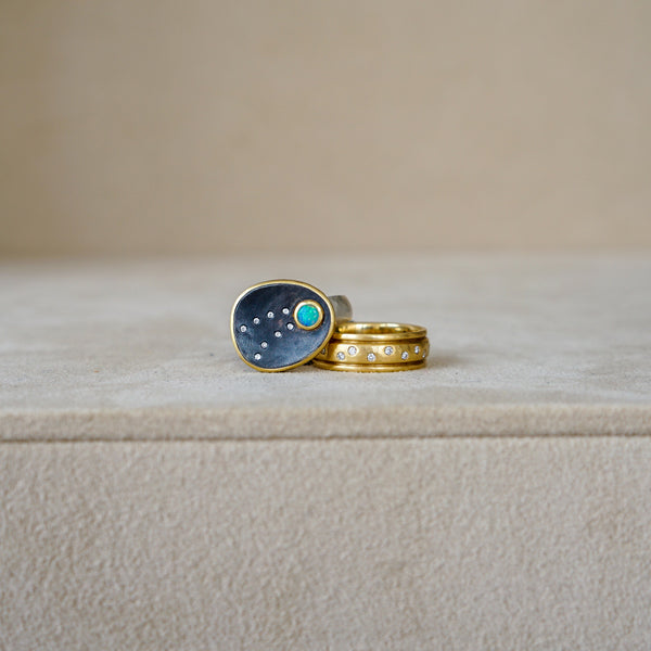 Opal Shooting Star Oxidized Ring 18/SS .085 Dia
