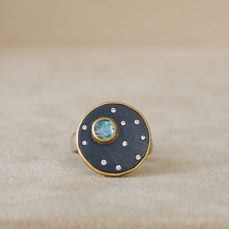 Full Moon & Stars Oxidized Sterling Ring & 18kt Gold, .085ct Dia