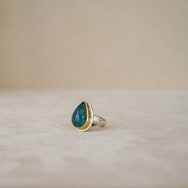 Tony Malmed Blue Green Tourmaline Pear Cabochon in 18K Gold and Sterling Silver