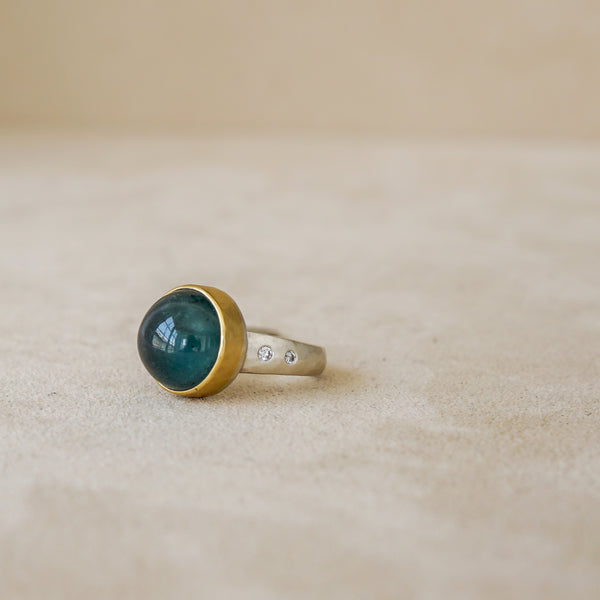 Tony Malmed Blue Green Tourmaline Cabochon Ring set in 18k Gold with Sterling Silver band and White Diamonds