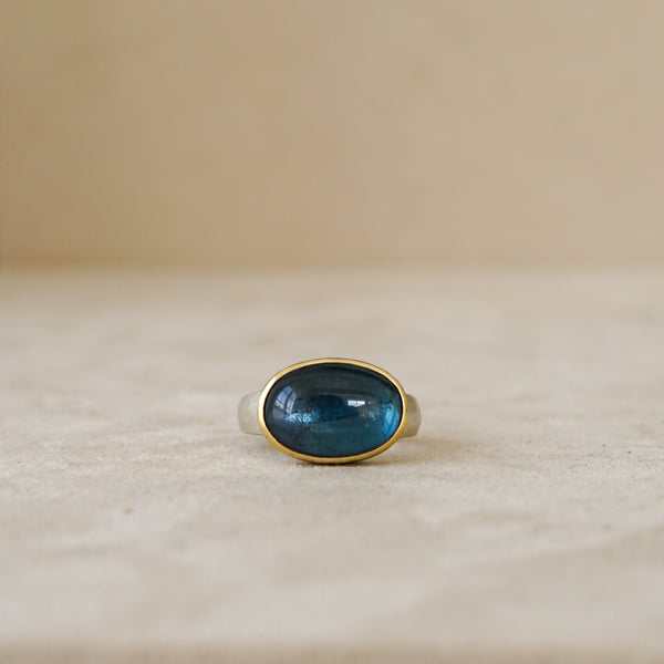 East West Adriatic Blue Tourmaline Ring