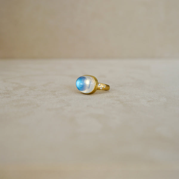 Large East West Blue Moonstone Ring