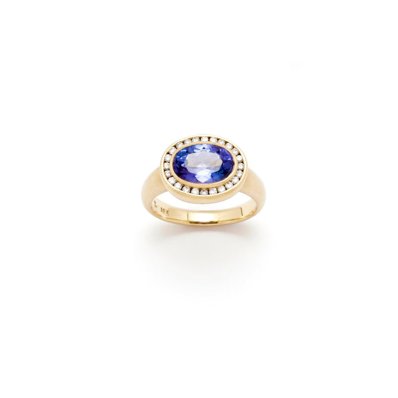 Tony Malmed, contemporary jewelry, 18kt gold, recycled metals, tanzanite, diamonds, fine jewelry, ring, conflict-free, handmade, hammered finish, santa fe style