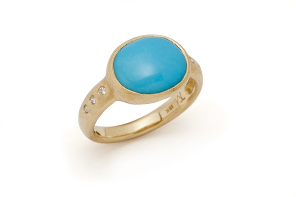 Tony Malmed, contemporary jewelry, 18kt gold, recycled metals, sleeping beauty turquoise, diamonds, fine jewelry, ring, conflict-free, handmade, hammered finish, santa fe style