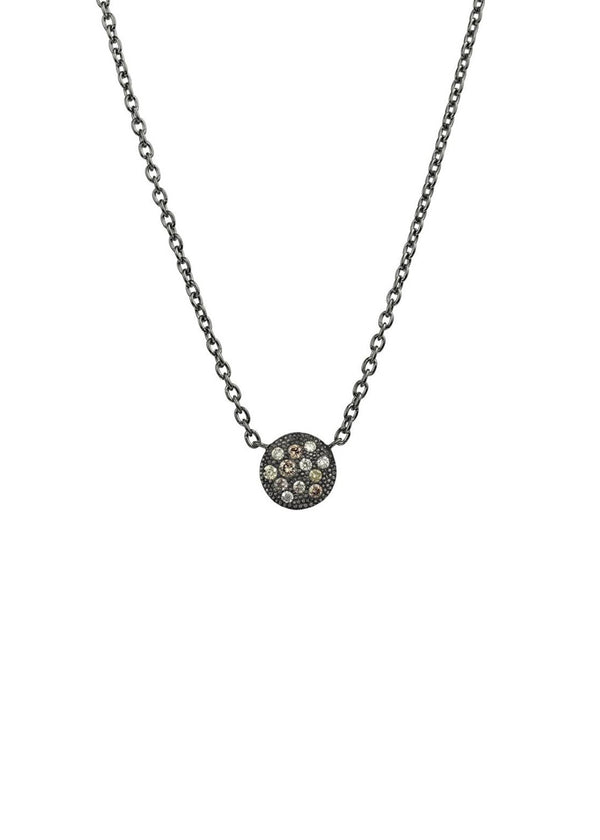 Carmela Necklace, Rhodium Sterling Silver & Champagne Diamonds 0.12ct