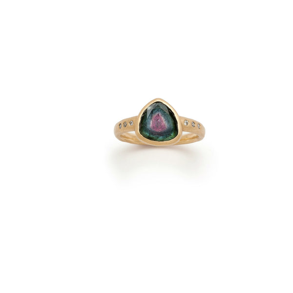 Tony Malmed, contemporary jewelry, 18kt gold, recycled metals, watermelon tourmaline, diamonds, fine jewelry, ring, conflict-free, handmade, hammered finish, santa fe style