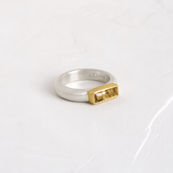 Rectangle Combination Ring with Rutilated Quartz