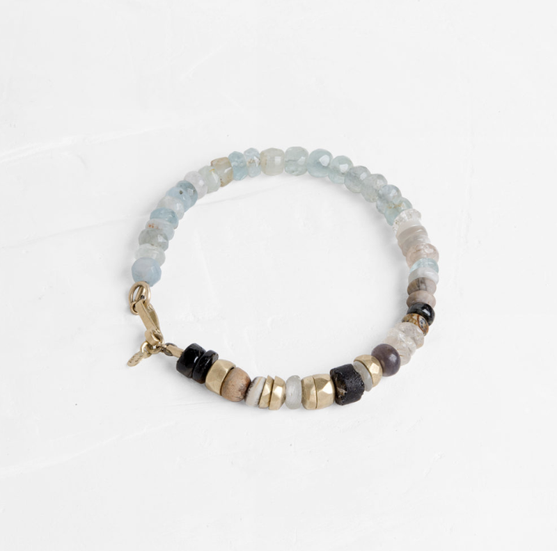 Gemstone Bracelet with Gold Stones