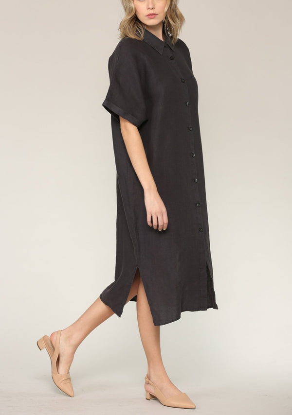 Alexa Linen Shirt Dress, Ink