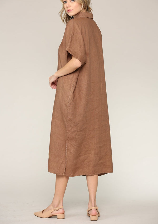 Alexa Linen Shirt Dress, Wheat