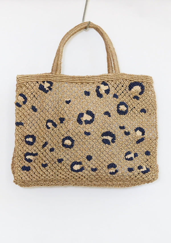 Leopard Print Jute Bag, Large