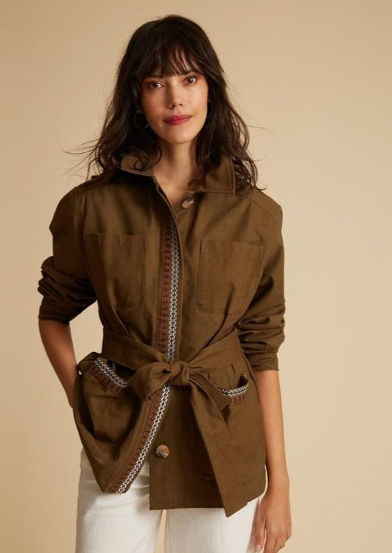 Inoui Inouitoosh Belted Army Jacket Cargo Embroidered Khaki Green Olive Vesta Paloma
