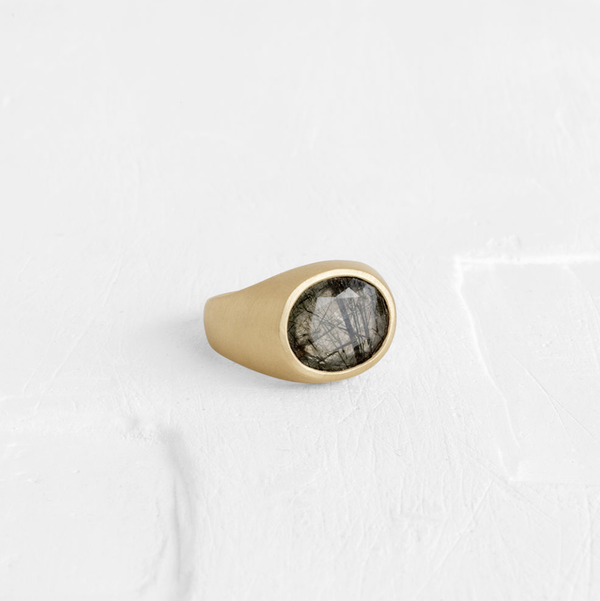 Smokey Rutilated Quartz Pinky Ring