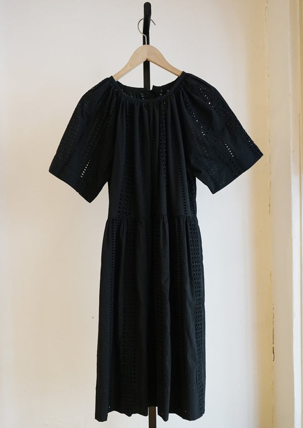 Caron Callahan Black Eyelet Cotton Amelia Dress