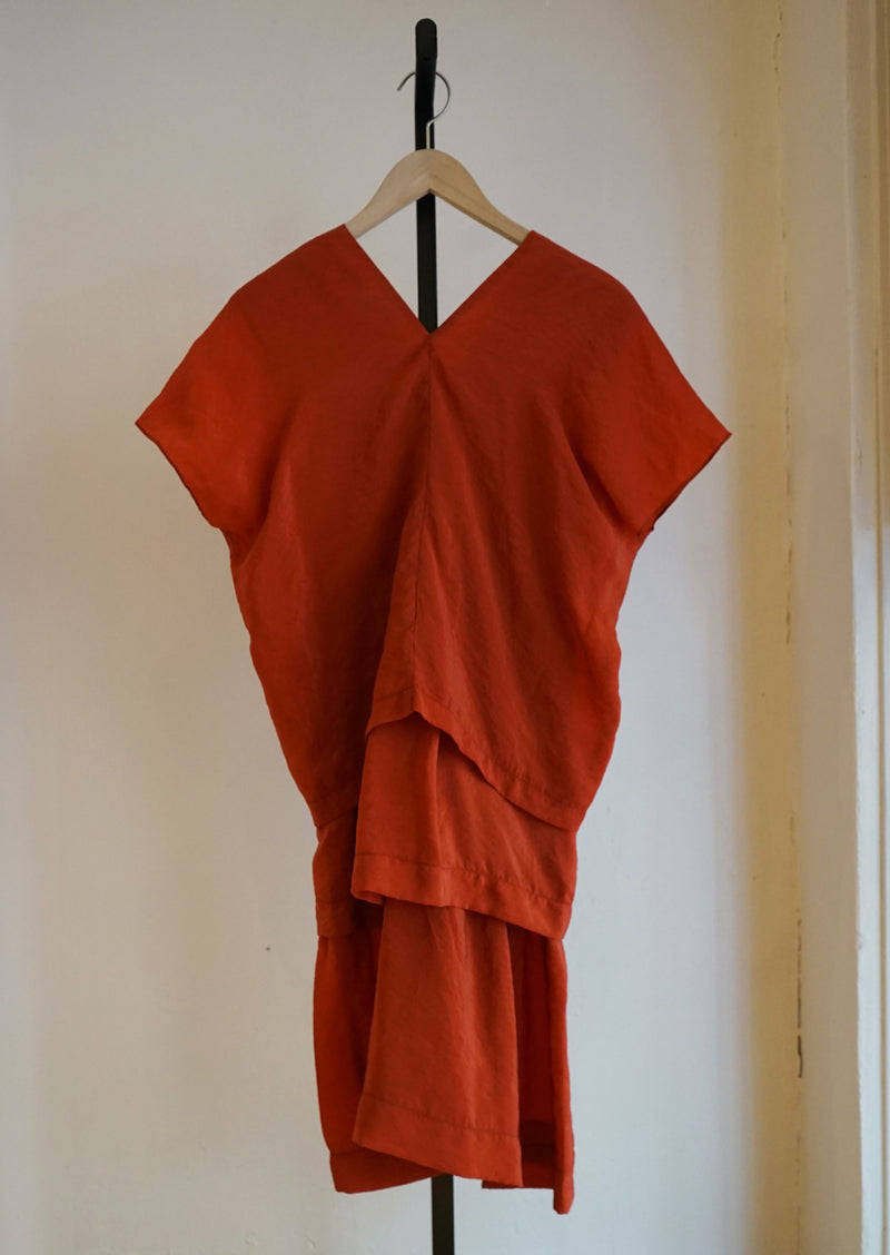 Caron Callahan Red Sienna Crinkle Cupro Layered Dress