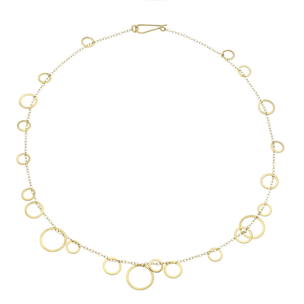 Circle Bunches Necklace, 18K Gold, 17""