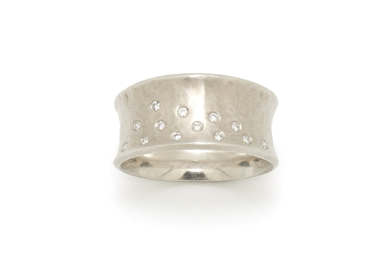 Tony Malmed, contemporary jewelry, sterling silver, 18kt gold, recycled metals, diamonds, fine jewelry, concave, ring, band, conflict-free, handmade, hammered finish, santa fe style