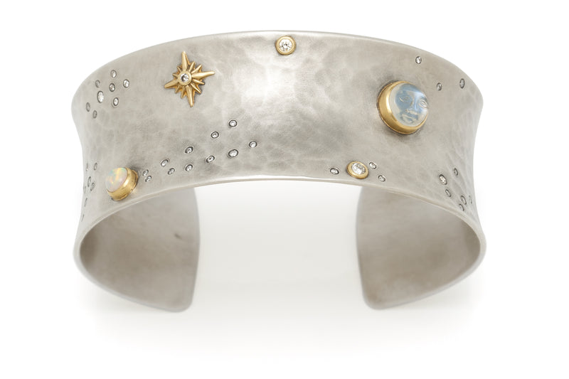Tony Malmed, contemporary jewelry, sterling silver, 18kt gold, recycled metals, diamonds, moonstone, opal, celestial, moonface, night sky, galaxy, fine jewelry, cuff bracelet, conflict-free, handmade, santa fe style