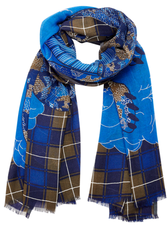wool scarf, bold pattern, dragon, mythical animal, french graphic design, khaki blue, tartan, plaid, inouitoosh, sold in santa fe new mexico