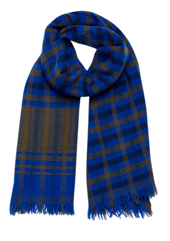 blue plaid scarf, french graphic design, wool, inouitoosh, tartan, sold in santa fe new mexico