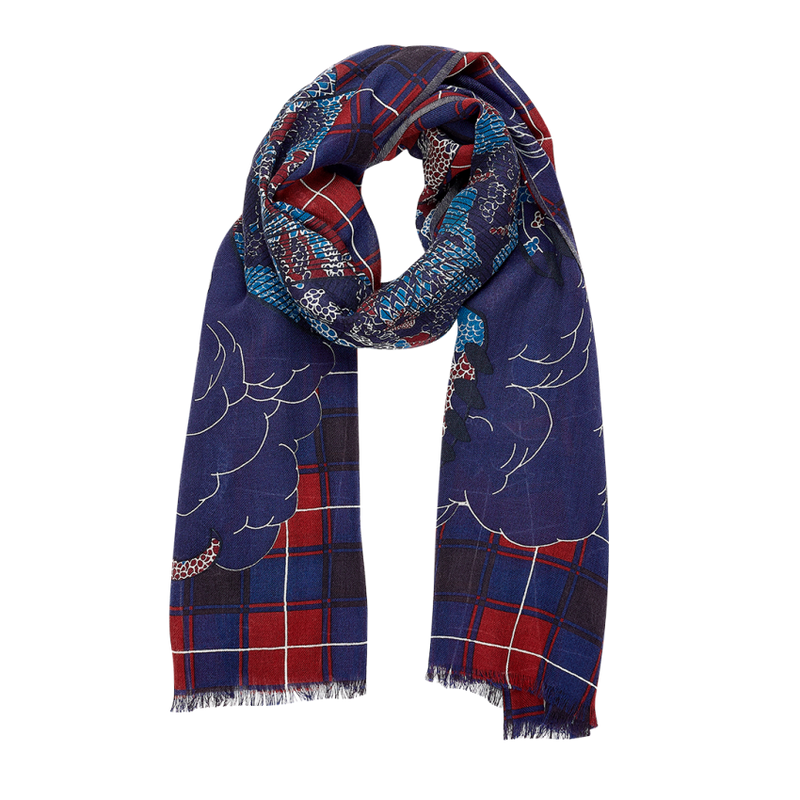 wool scarf, bold pattern, dragon, mythical animal, french graphic design, red blue, tartan, plaid, inouitoosh, sold in santa fe new mexico