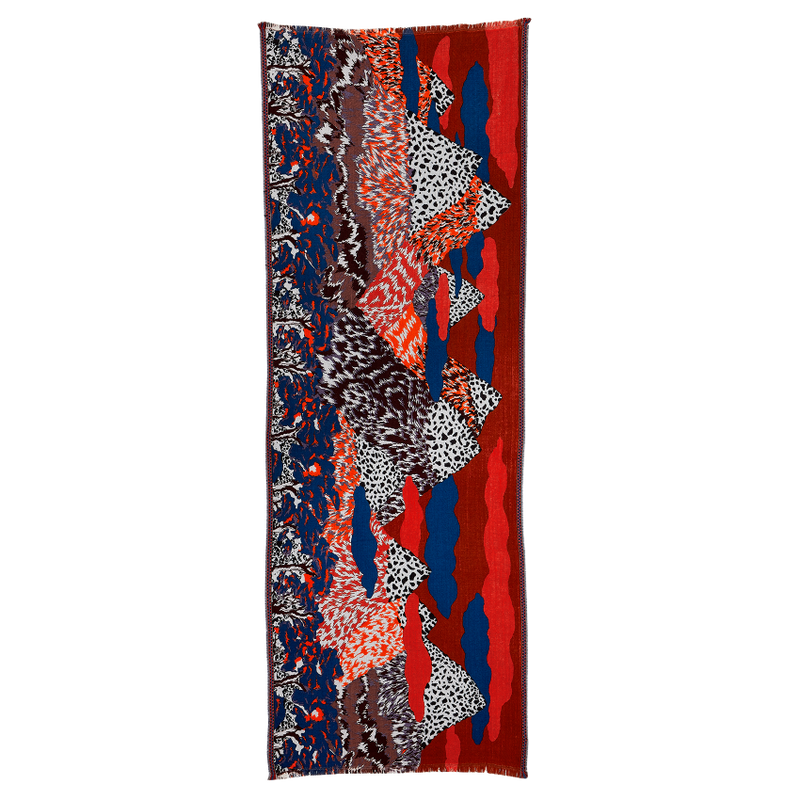 jacquard, wool viscose scarf, bold pattern, fuji, mountain, landscape, french graphic design, red blue, inouitoosh, sold in santa fe new mexico