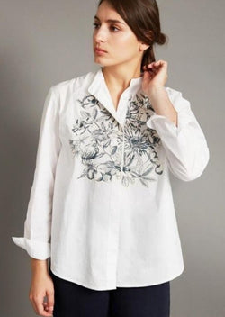 cotton blouse, floral botanical print, white button down, bold pattern, french graphic design, inouitoosh, sold in santa fe new mexico