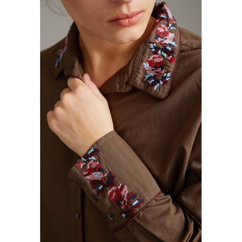 cotton, floral embroidery, collared shirt dress, khaki, brown, detail, sold in santa fe new mexico