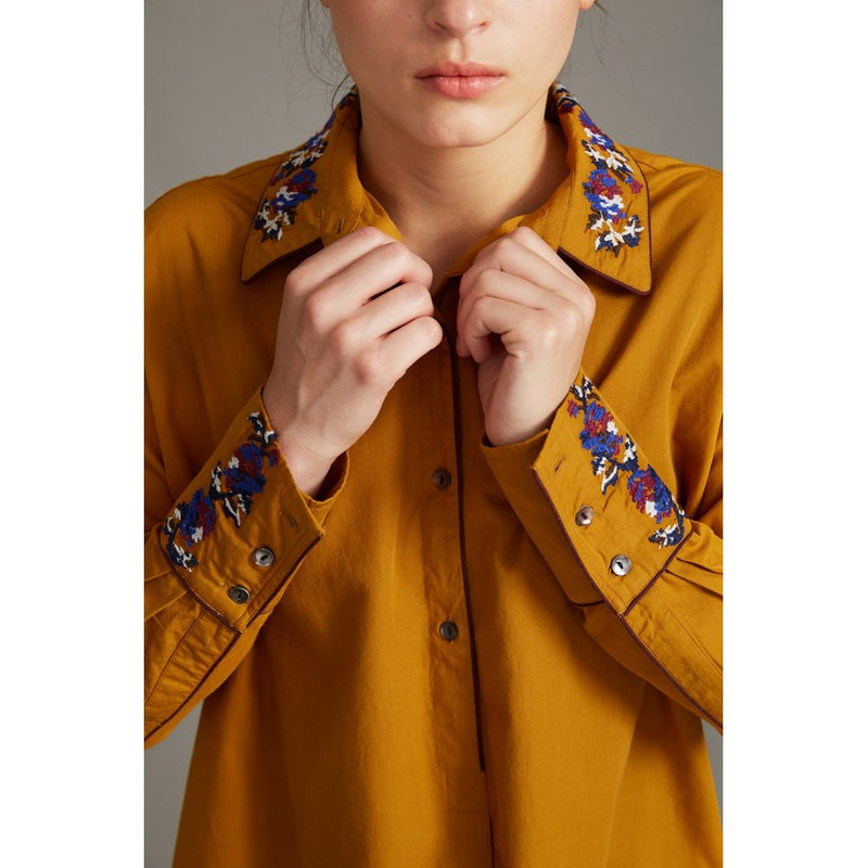 cotton blouse, floral botanical embroidery, gold saffron button down, collar, bold pattern, french graphic design, inouitoosh, sold in santa fe new mexico