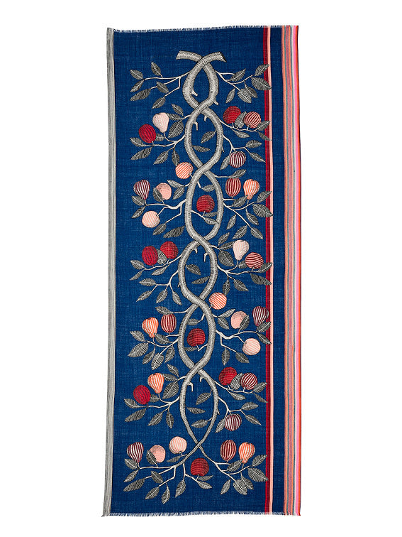wool scarf, bold pattern, botanical, floral, fruit, french graphic design, blue red, inouitoosh, sold in santa fe new mexico